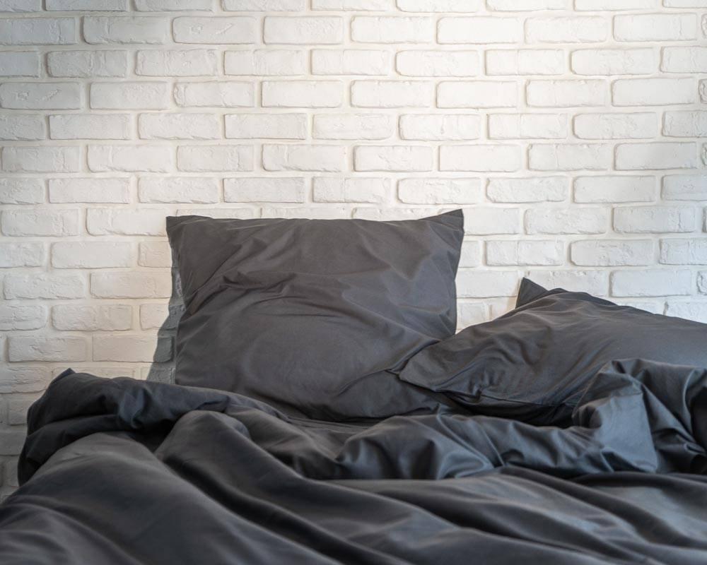 Linge de lit percale de coton lavé gris