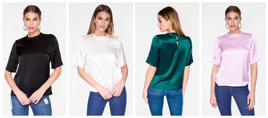 High Neck Satin Short Sleeve Top