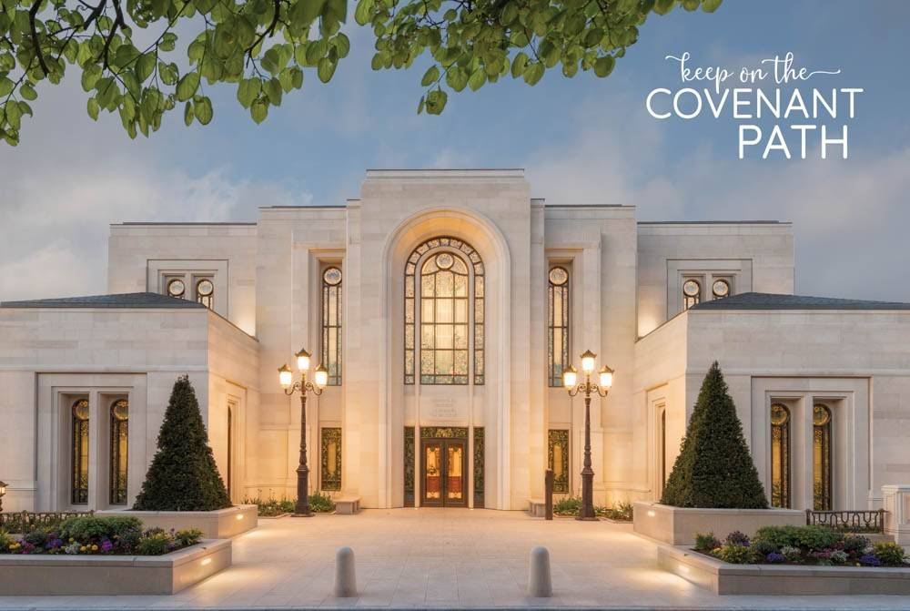 """Poster of the Paris France LDS Temple. Text reads: """"Keep on the Covenant Path""""."""