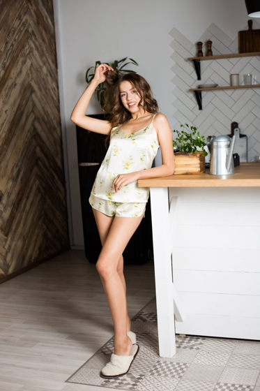 Женская шелковая пижама топ с шортами