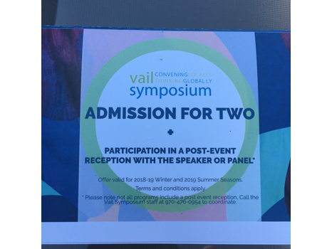 2 Tickets to a Vail Symposium Event
