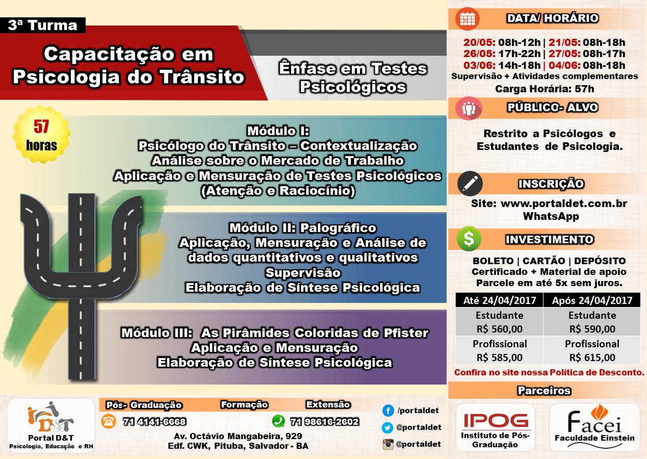 CURSO: Capacitação em Psicologia do Trânsito - Ênfase em Testes Psicológicos - 57 horas