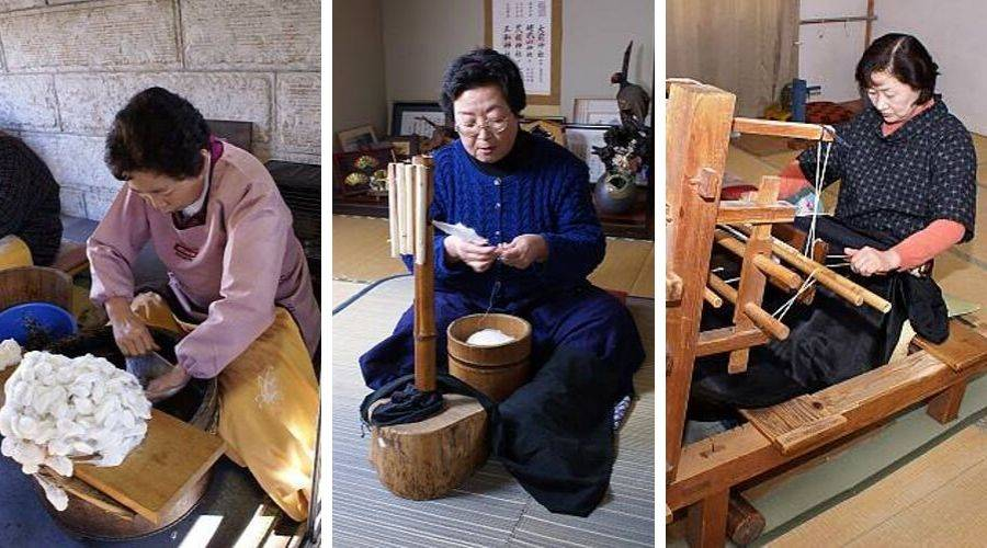 yūki-tsumugi - 3 craftspeople working to produce wild silk from cocoon to cloth
