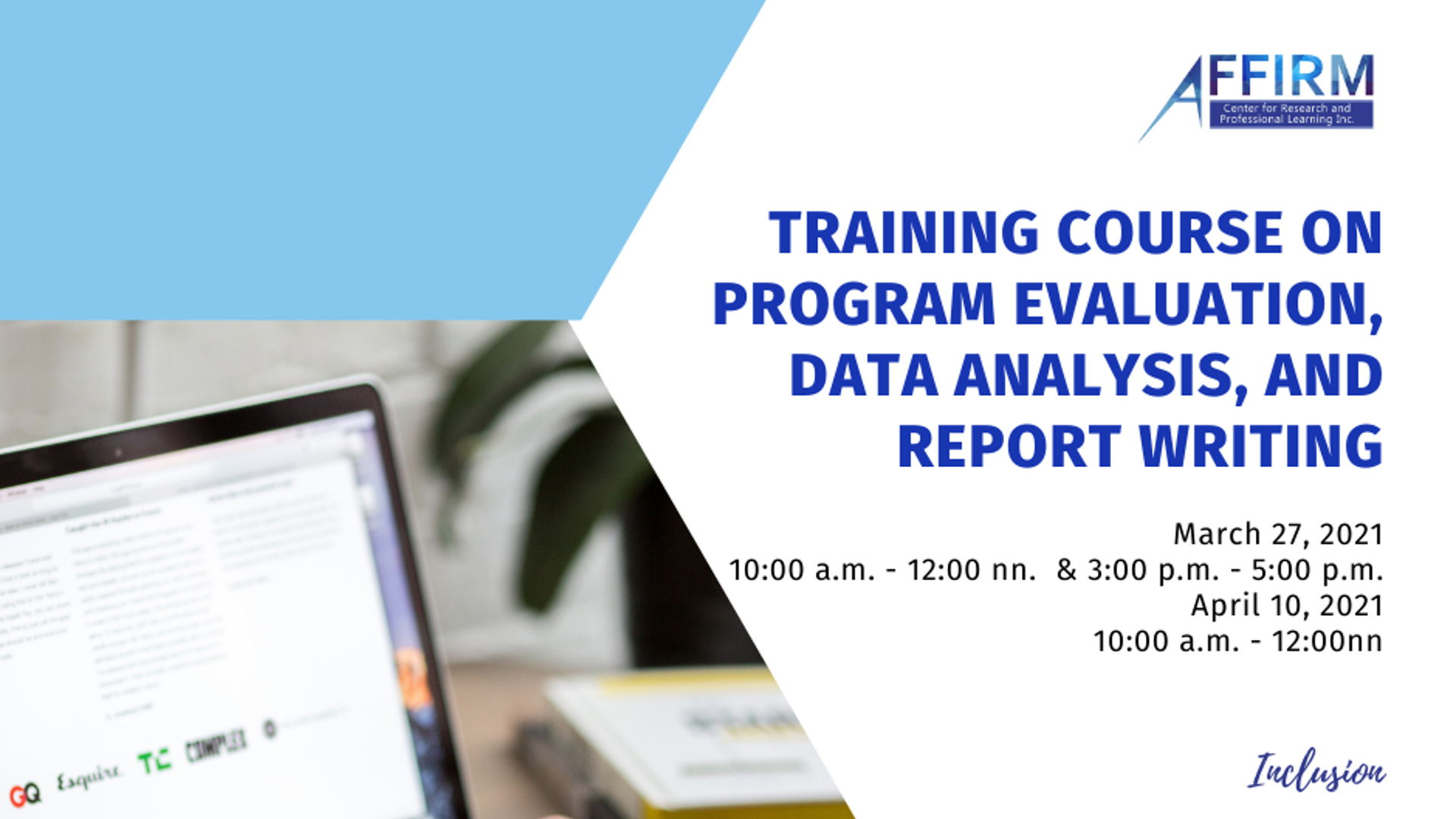 Training Course on Program Evaluation, Data Analysis, and Report Writing