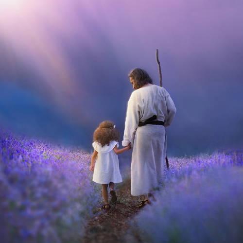 Jesus leading a little girl through a field of purple flowers.