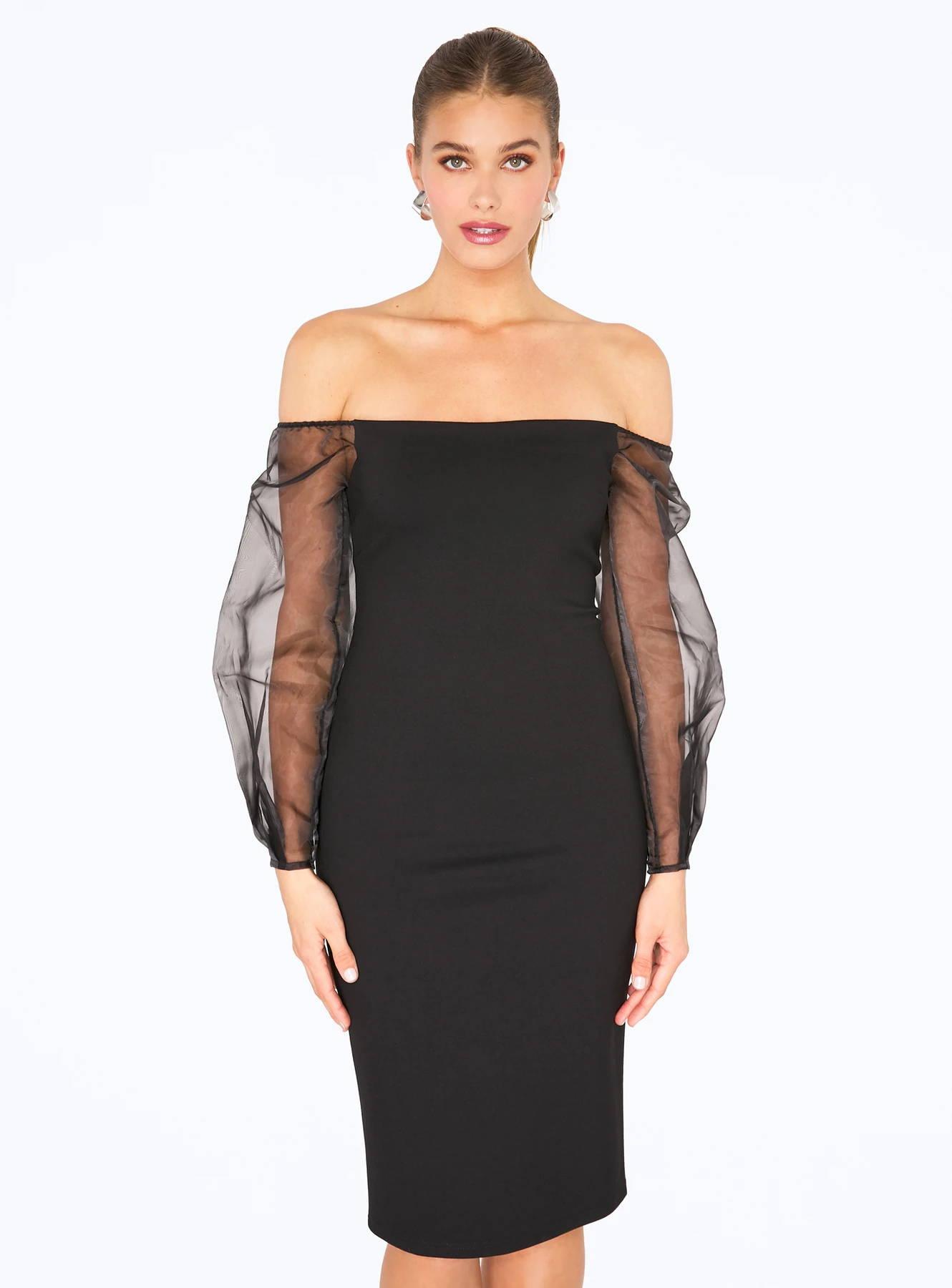 Black Off the Shoulder Midi Pencil Dress