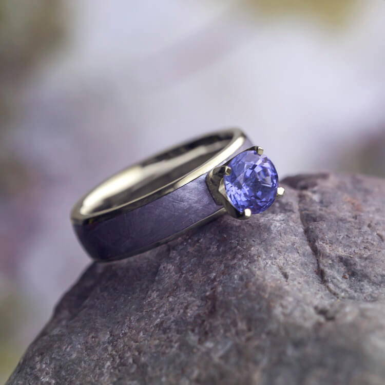 METEORITE SOLITAIRE ENGAGEMENT RING, TANZANITE RING IN 14K WHITE GOLD