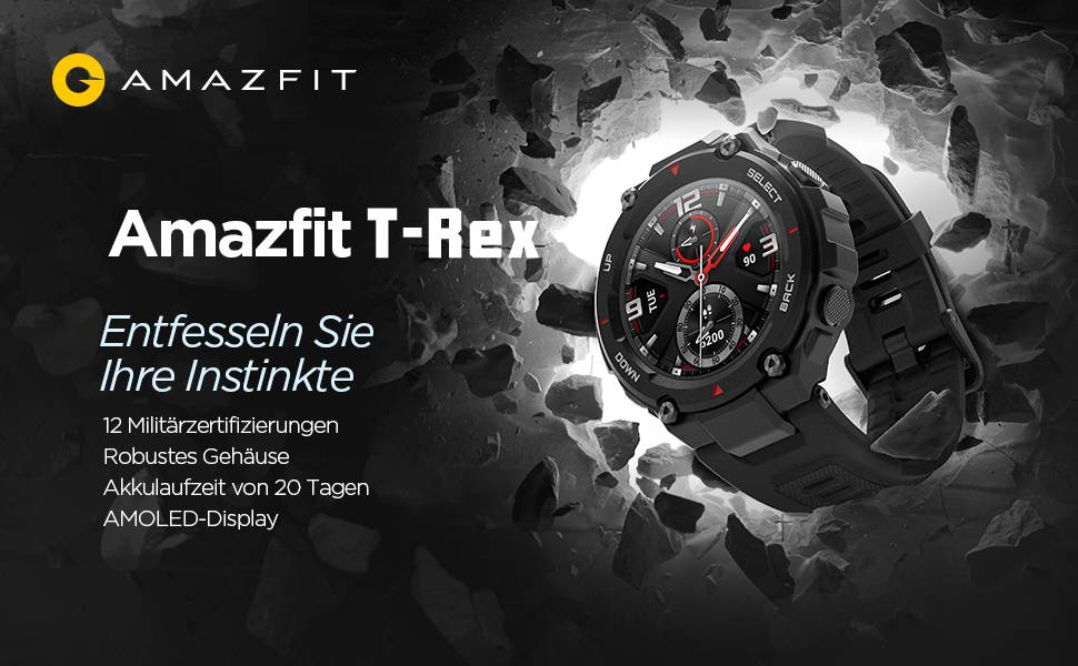 Amazfit T-Rex - Entfesseln Sie Ihre Instinkte  12 Militärzertifizierungen | Robustes Gehäuse  Akkulaufzeit von 20 Tagen | AMOLED-Display