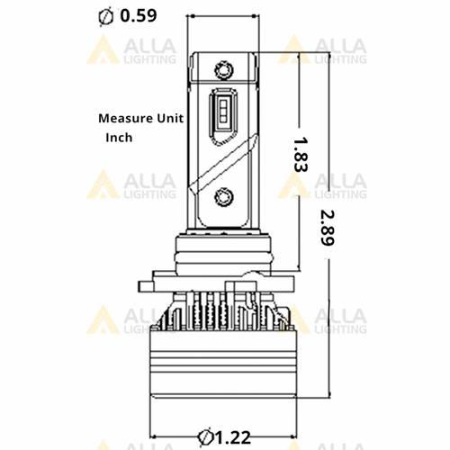 Alla FL-BH HB1 9004 LED Forward lighting Bulbs Replacement Dimension