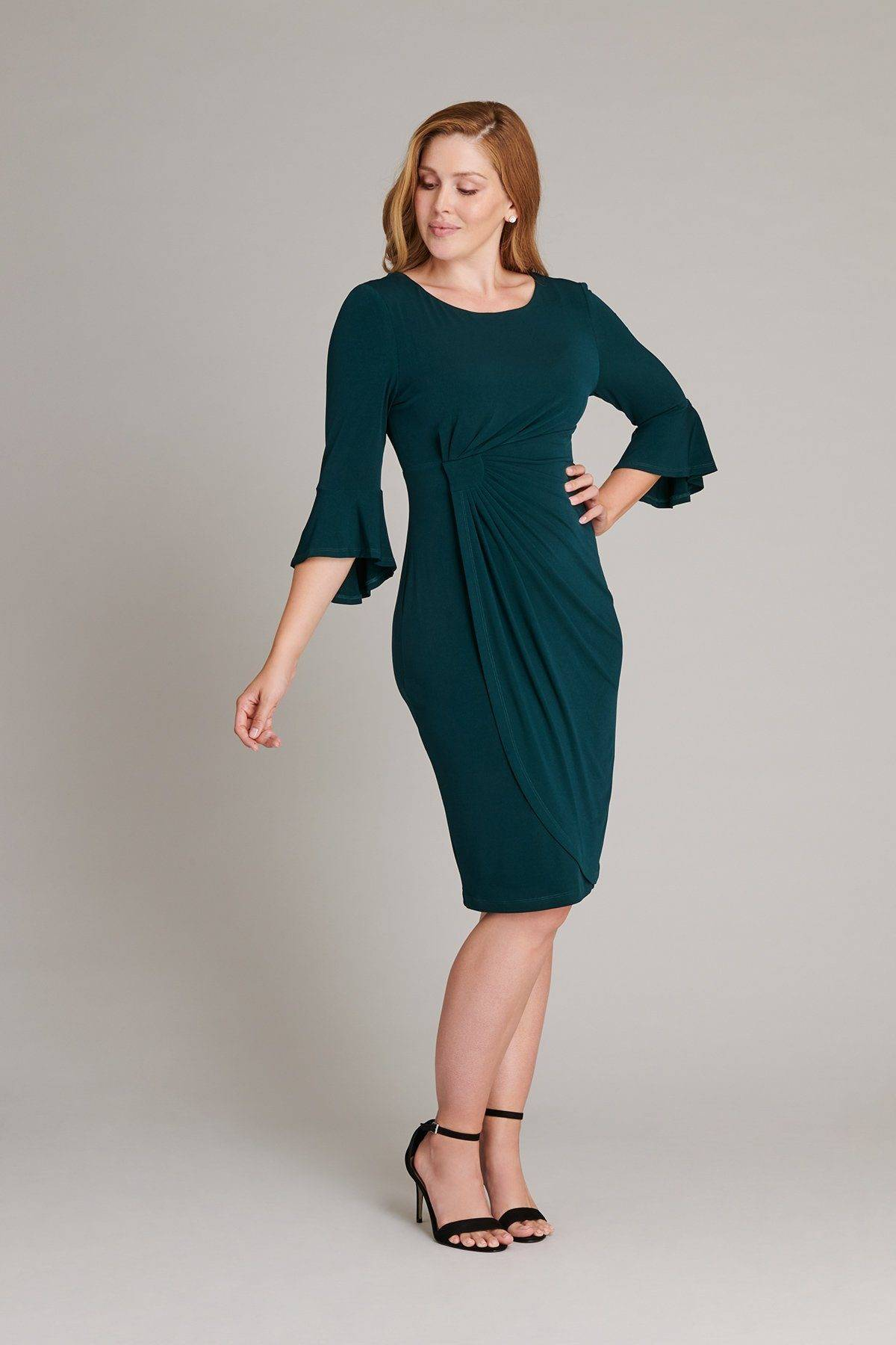 green-long-sleeve-dress-teal-wrap-womens-connected-apparel