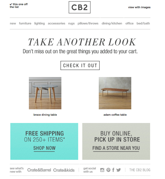 CB2 - Dynamic Content - Email Marketing