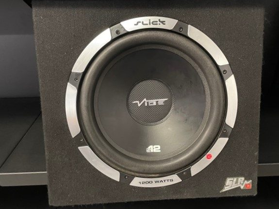"""SLICK VIBE 12"""" SUBWOOFER IN VIBE PORTED BOX 1200 WATT MAX's featured image"""