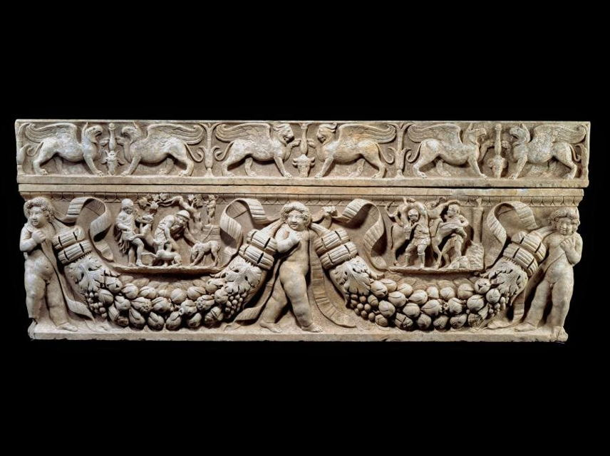 Garland Sarcophagus with Hunting Scenes; Roman, ca. 130-150, marble, Purchased with funds provided by Gilbert M. Denman, Jr. q