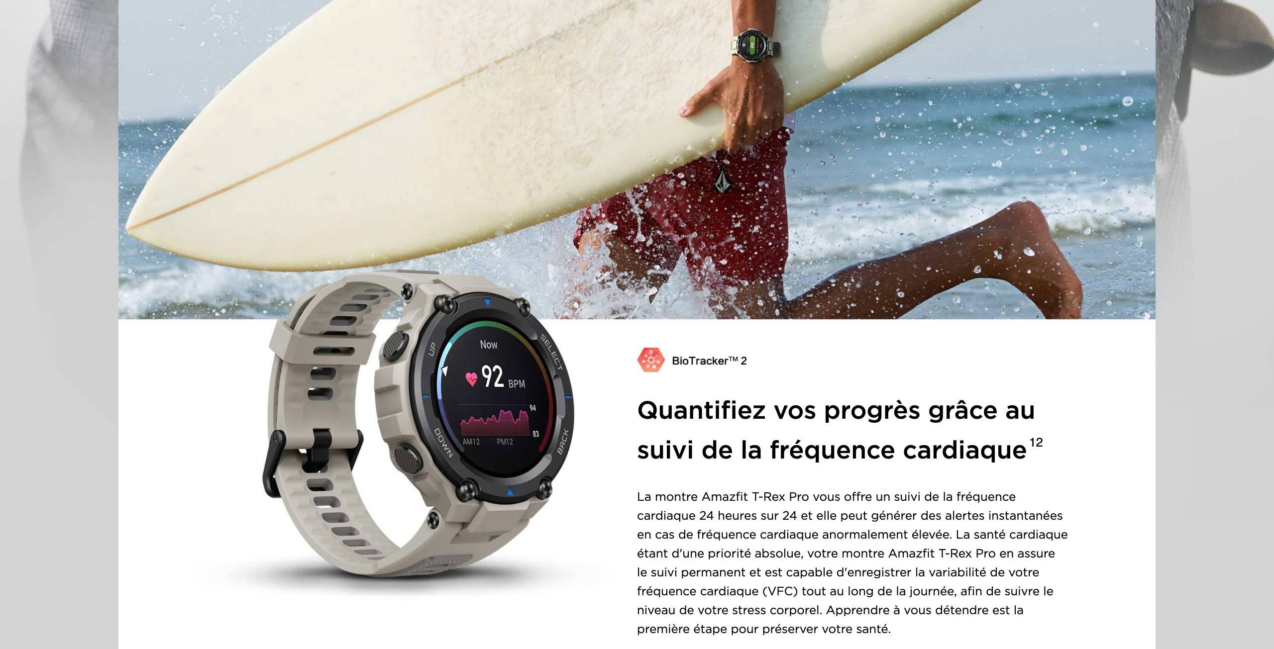 Amzfit T-Rex Pro - Quantifiez vos progrès grâce au suivi de la fréquence cardiaque.