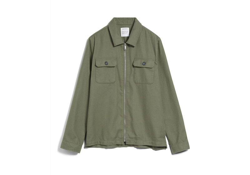 Olive green men's organic cotton shirt with zip