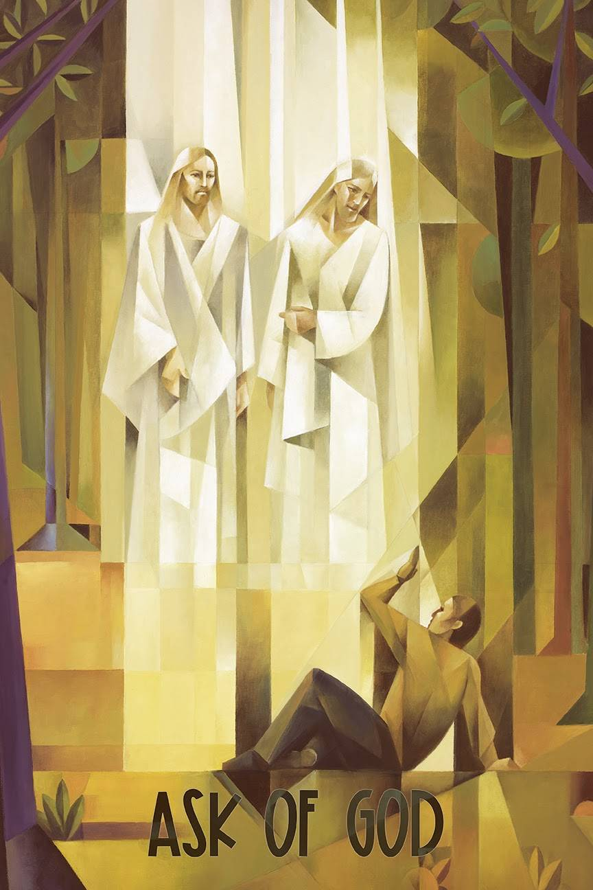 "LDS art vertical poster of the First Vision done in cubism style by Jorge Cocco. Quote reads: ""Ask of God."""