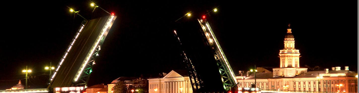 Ночная разводка мостов: Дворцовый мост