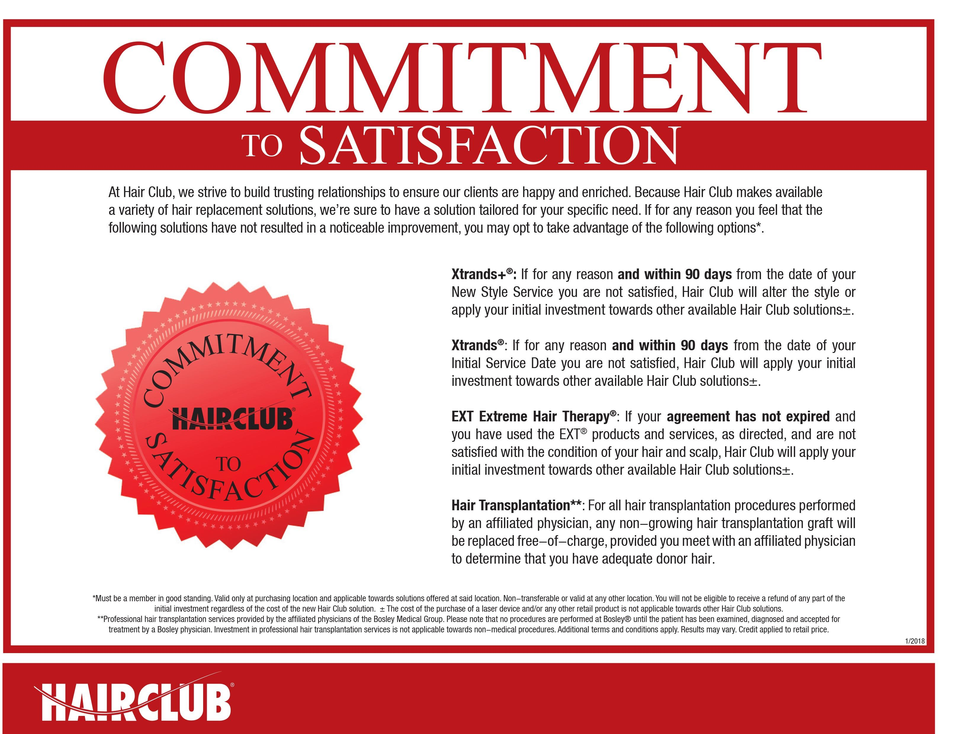 Hair Club Commitment To Satisfaction, Full Commitment Image