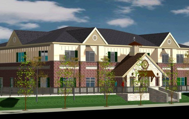 Graphic illustration of the proposed school building for Primrose Willow Glen