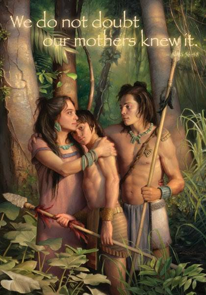 "LDS art poster featuring a painting of two young stripling warriors saying goodbye to their mother. The text says: ""We do not doubt our mothers knew it. - Alma 56:48"""