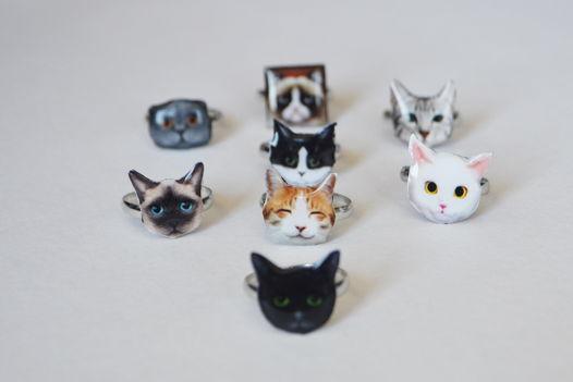 Кольцо с кошачьей мордочкой ручной работы
