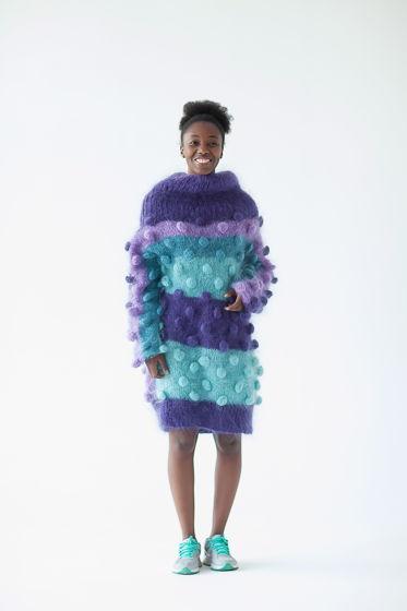 Свитер-платье оверсайз ручной вязки