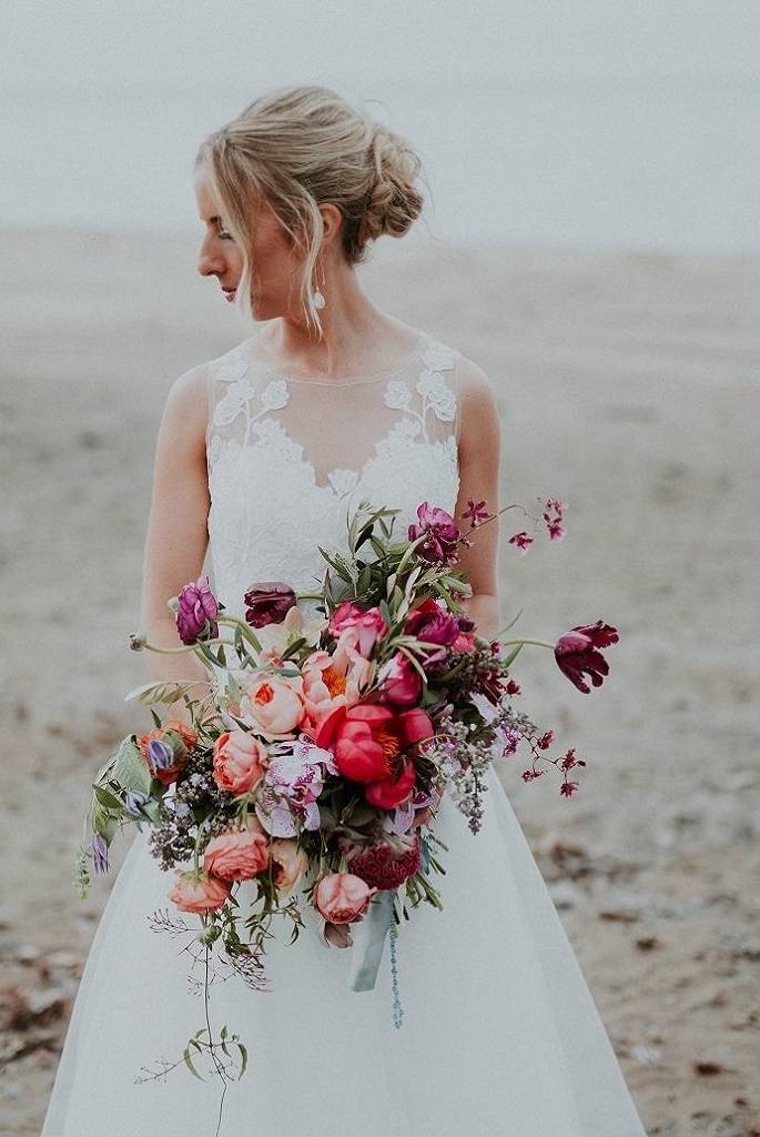Julia Harts Wedding Photo from Arbor at the Port | Colorful wedding bouquet | Upstate New York Wedding florist