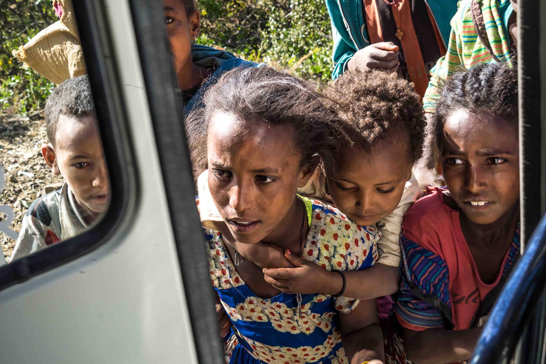 Ethiopian children on the roadside in Tigray