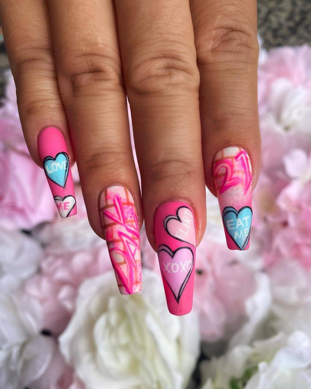 Pink valentines day nail art