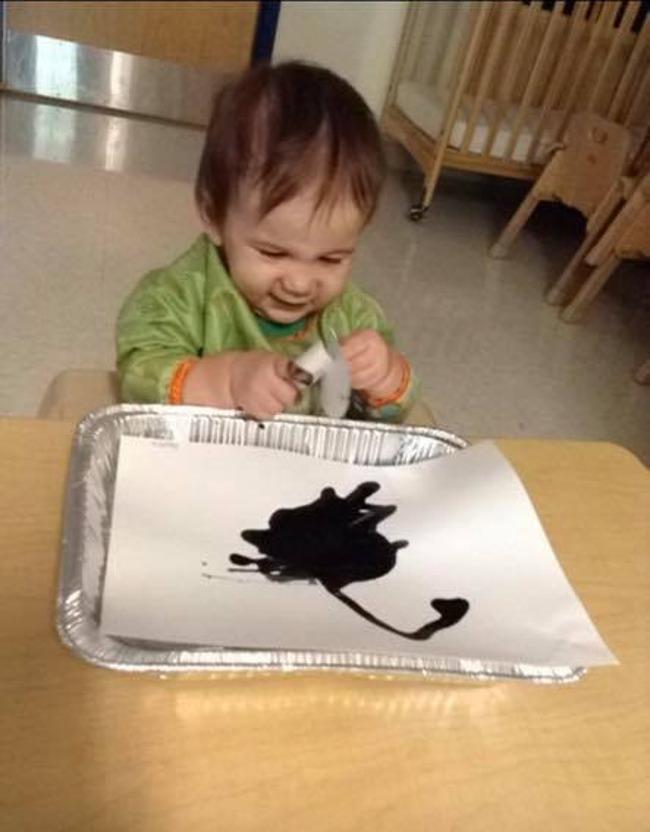art, picasso, baby, finger paints