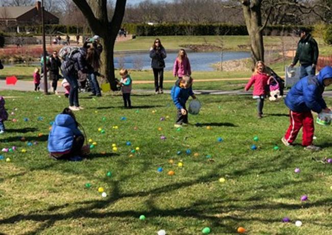 Image of children hunting for Easter eggs