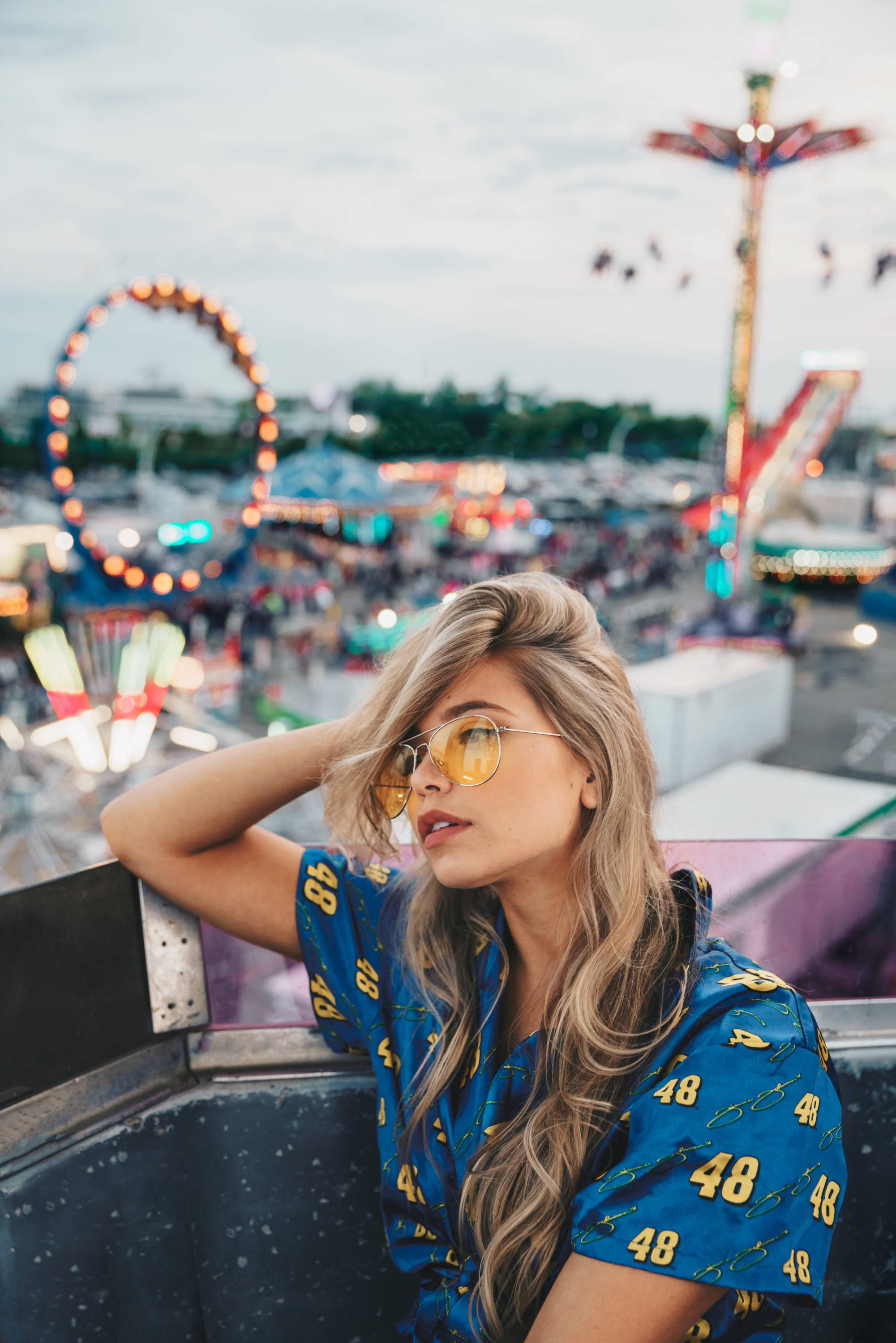 large aperture: long blonde hair at carnival