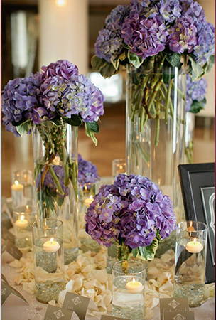 Lavender flower glass vases