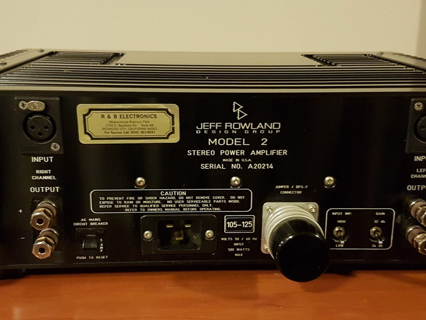 Jeff Rowland Model 2 Stereo Power Amplifier. Black Finish. Price reduction.