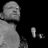 the drummer, Mau hitting a cymbal