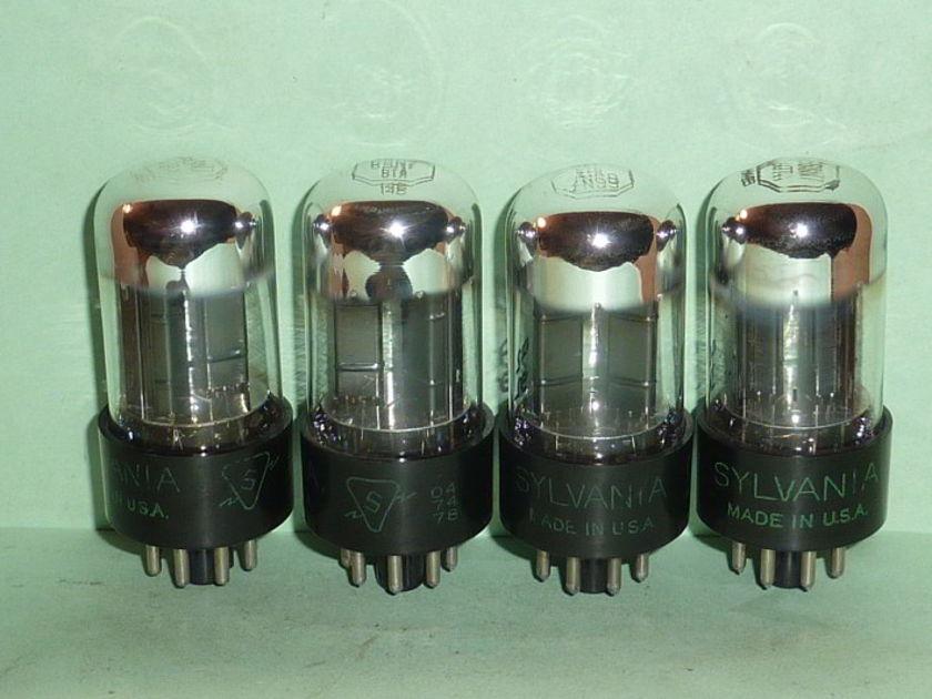 Sylvania 6SN7GTA 6SN7 ECC33 Chrome Top Tubes, Matched Quad, Tested