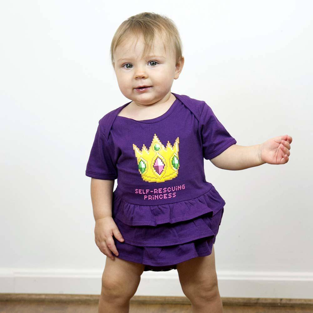 self-rescuing princess baby onesie