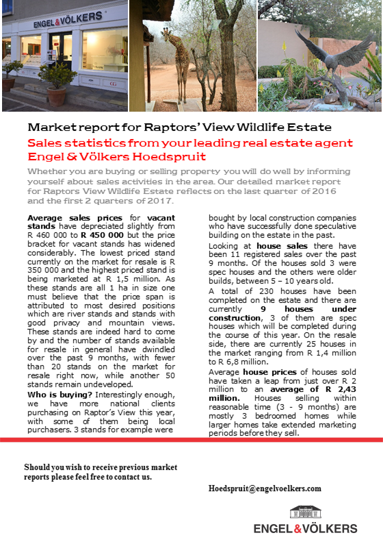 Hoedspruit - Market Overview for Raptors View with average sales figures for houses and stands sold