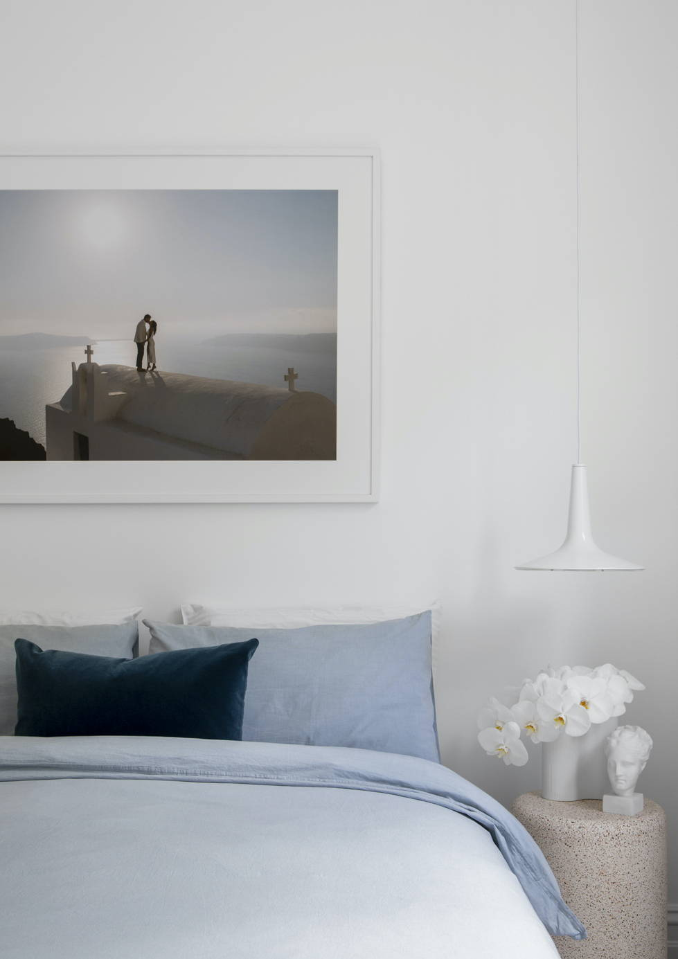 Framed Wedding Photo above the bed