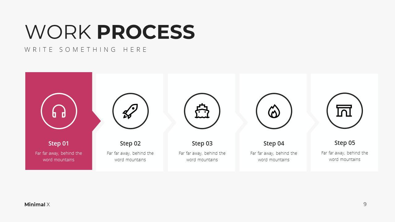Minimal X Digital Marketing Proposal Presentation Template Work Process