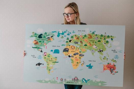 Деревянная детская карта Мира