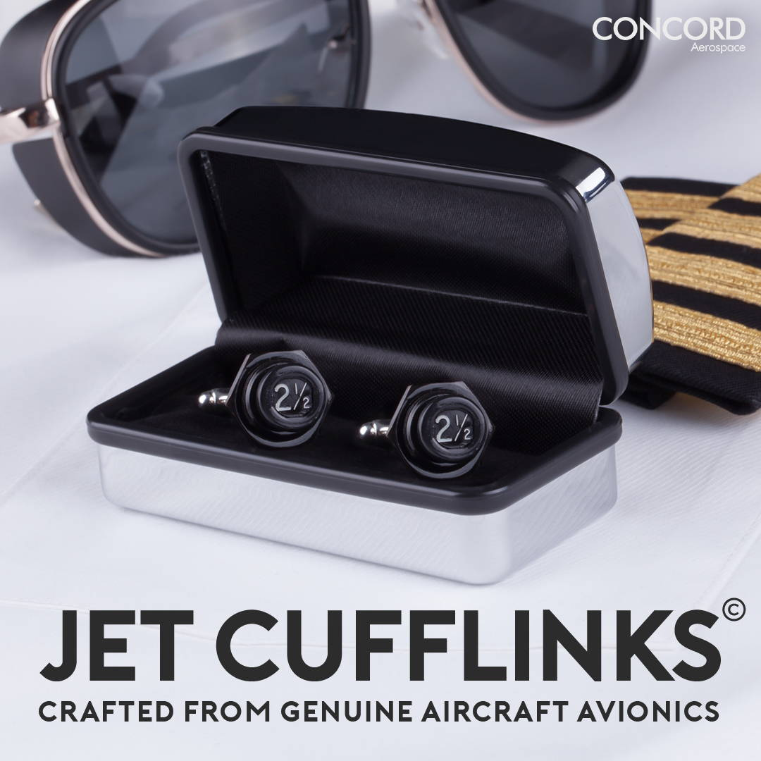 Concord Aerospace JetCufflinks. Cuff links made out of real retired aircraft avionics.