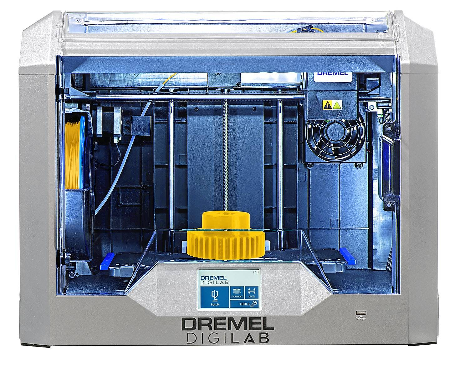 Front image of Dremel Digilab 3D40-FLX 3D printer with yellow gear on bed, printer on and lit up.