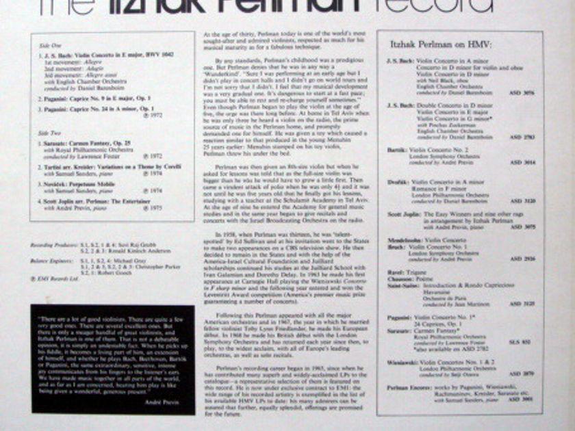 EMI ASD STAMP-DOG / ITZHAK PERLMAN, - The Itzhak Perlman Record, NM!