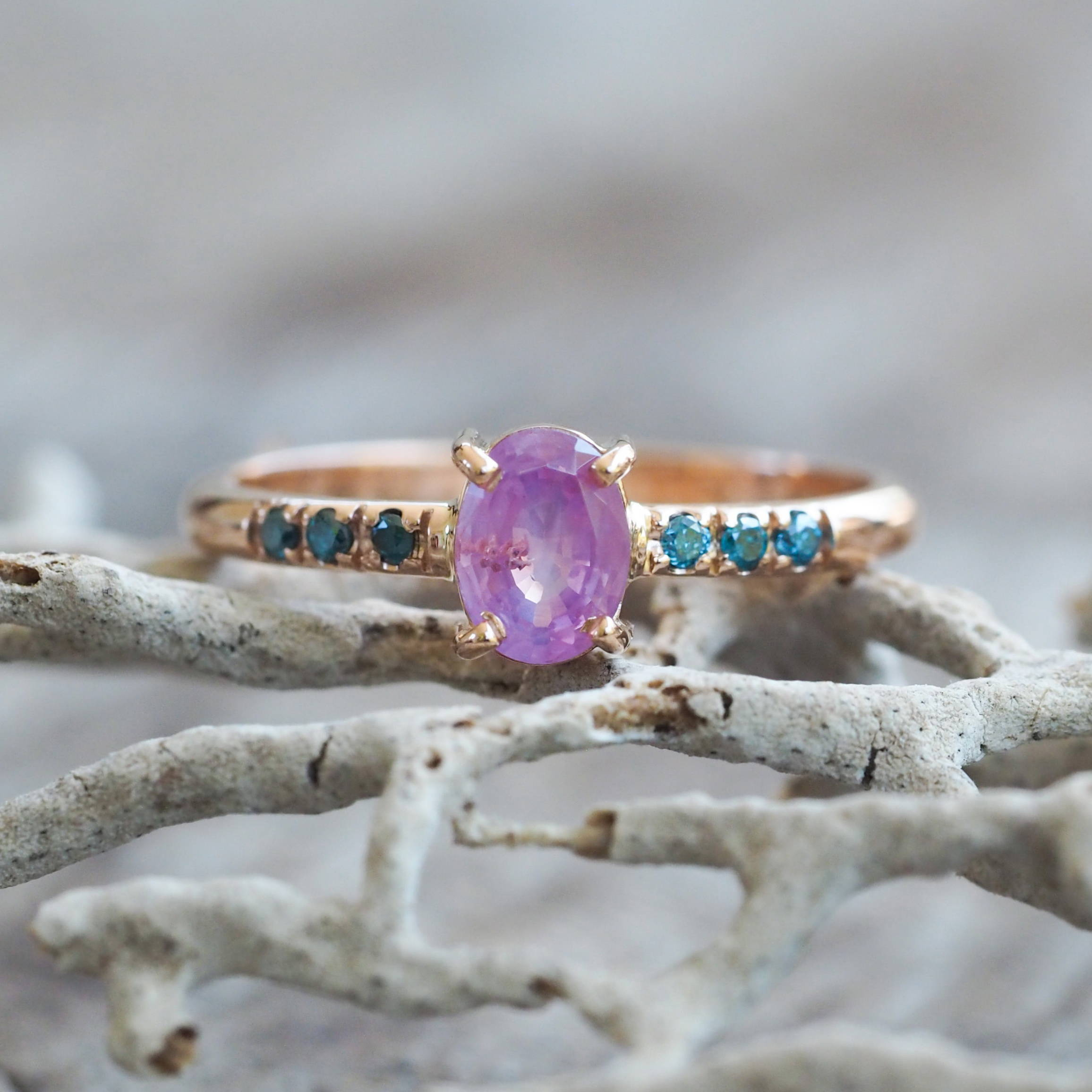 Custom Pink Sapphire Ring in Rose Gold.