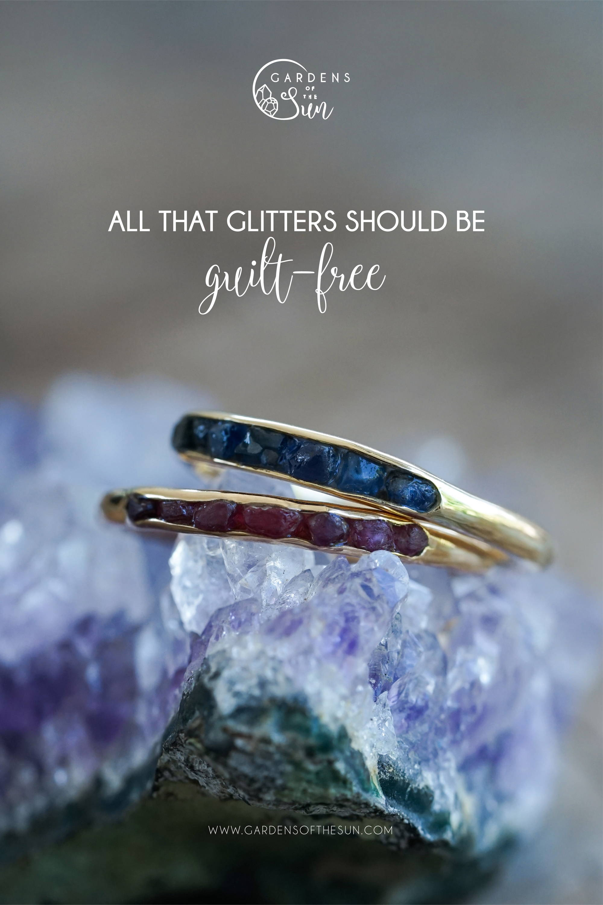 Borneo Sapphires and Rubies with Hidden Gems Rings in Eco Gold