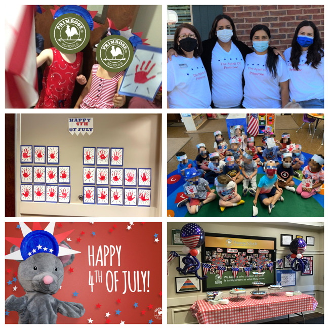 Collage of students and teachers dressed in red, white, and blue during our 4th of July parade.