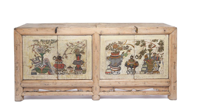 Antique Pale Painted 4 Door Mongolian Sideboard - 19thC | Indigo Antiques