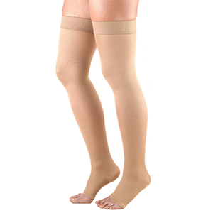 Ladies' Thigh High Open Toe Opaque Stockings in Beige