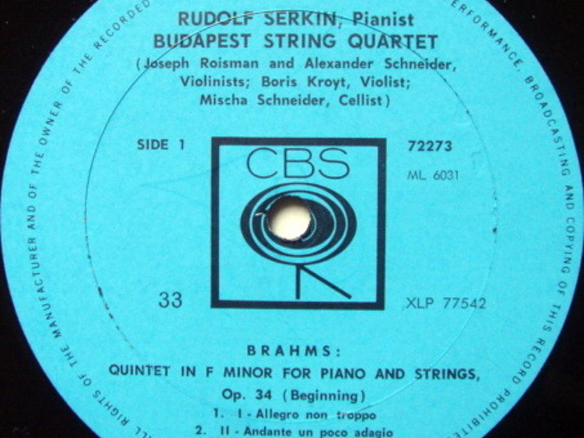 Columbia / BUDAPEST QT-SERKIN, - Brahms Piano Quintet, NM!
